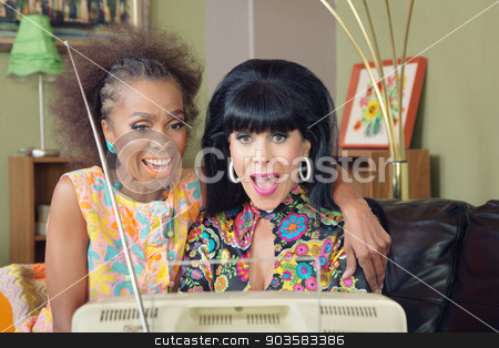 Cute Friends Watching TV stock photo, Two beautiful mature woman watching television together by Scott Griessel