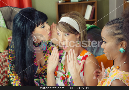 Three Friends Whispering Secrets stock photo, Friend whispering secrets to shocked woman in headband  by Scott Griessel