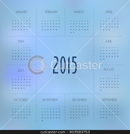 Calendar for 2015 year stock vector clipart, Vector illustration of Calendar for 2015 year by SonneOn