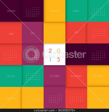 Calendar for 2015 year stock vector clipart, Vector illustration of Calendar for 2015 year by SonneOn