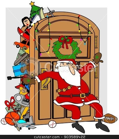 Santa's stuffed closet stock photo, This illustration depicts Santa trying to keep items in his full closet from overflowing. by Dennis Cox