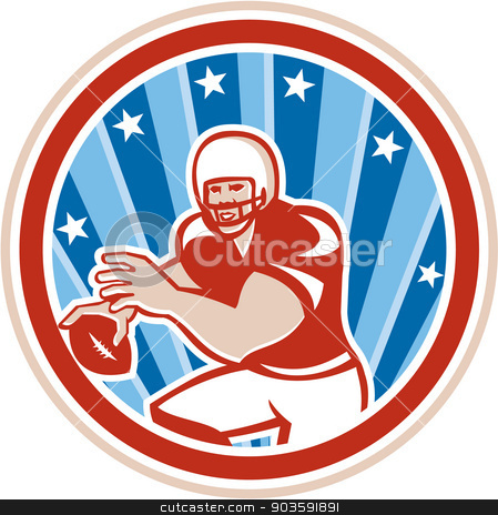 American Football QB Throwing Circle Retro stock vector clipart, Illustration of an american football gridiron quarterback qb holding throwing ball viewed from front set inside circle with stars and stripes in the background done in retro style.  by patrimonio