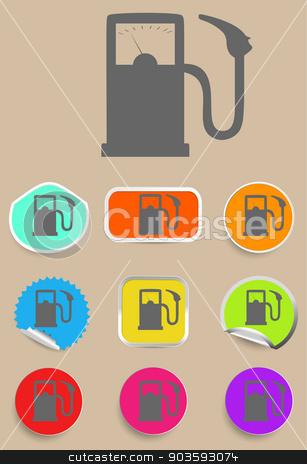 Gas station fuel pump black icon set stock vector clipart, Gas station fuel pump black icon set. by Liudmila Marykon