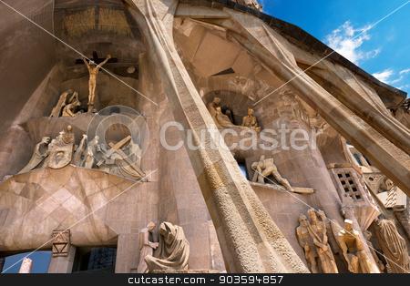 Sagrada Familia - Barcelona Spain stock photo, BARCELONA, SPAIN - JUNE 12, 2014: Details of the facade of the famous Catholic basilica of the Sagrada Familia in Barcelona, Catalonia, Spain. Designed by Antoni Gaudi. Start of construction, 1882 by catalby