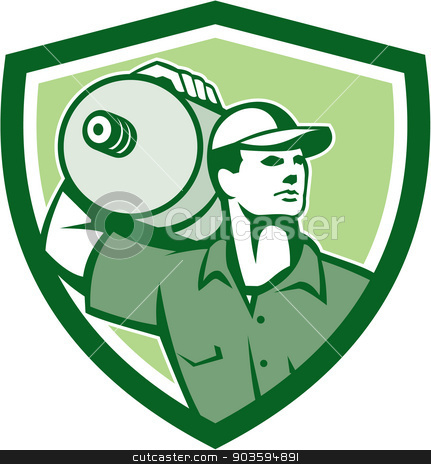 Delivery Worker Water Jug Shield Retro stock vector clipart, Illustration of a delivery worker holding water jug container on shoulder delivering set inside shield crest on isolated background done in retro style. by patrimonio