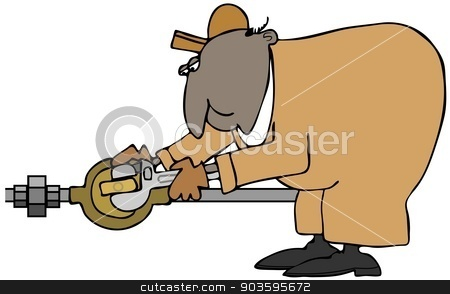 Plumber turning a valve stock photo, This illustration depicts a man in coveralls turning a valve with an adjustable wrench. by Dennis Cox