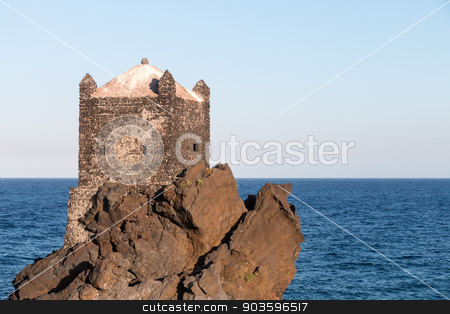 Medieval Tower stock photo, Medieval Tower build on lava stone in ionian sea Sicily by Salvatore Pappalardo