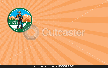 Business card Organic Farmer Rake Woodcut Retro stock photo, Business card showing illustration of organic farmer with rake facing side set inside circle with mountain trees house farm barn in the background done in retro woodcut style. by patrimonio