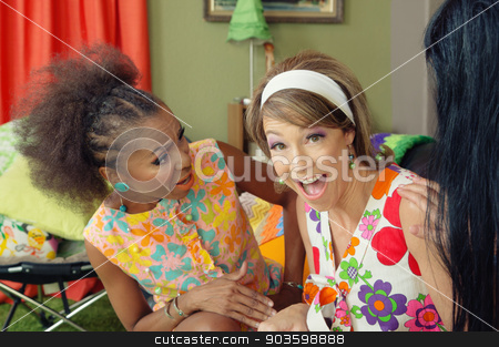 Lady Laughing with Friends stock photo, Three cute mature 1960s women joking together by Scott Griessel