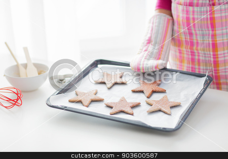 close up of woman with cookies on oven tray stock photo, christmas, food, holidays and people concept - close up of woman in apron and oven glove with cookies on oven tray by Syda Productions