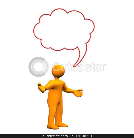 Manikin Speech Bubble Innocent stock photo, Orange cartoon character with speech bubble on the white background. by Alexander Limbach