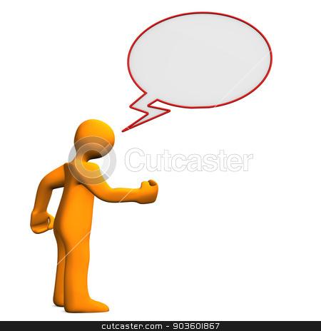 Manikin Speech Bubble Angry stock photo, Orange cartoon character with a speech bubble.  by Alexander Limbach