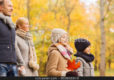 happy family in autumn park stock photo, family, childhood, season and people concept - happy family in autumn park by Syda Productions