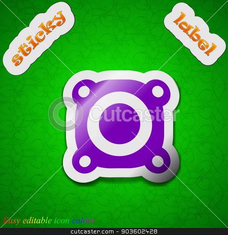 Speaker volume icon sign. Symbol chic colored sticky label on green background. Vector stock vector clipart, Speaker volume icon sign. Symbol chic colored sticky label on green background. Vector illustration by Serhii
