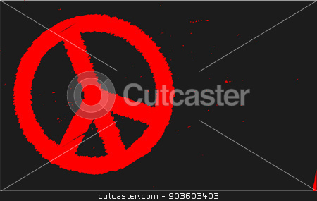 Ban the Bomb Blackboard stock vector clipart, A blackboard with a chalk bam the bomb sign in red by Kotto