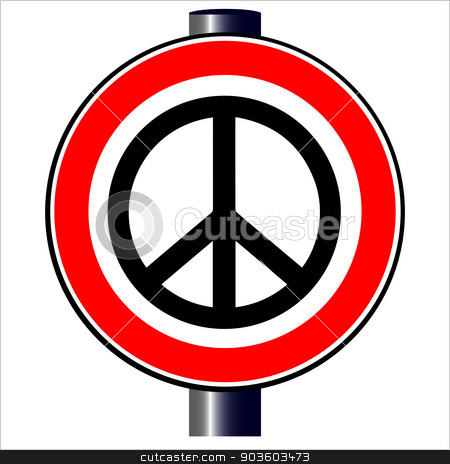 Ban the Bomb Road Sign stock vector clipart, A large round red traffic displaying a Ban the Bomb style image by Kotto