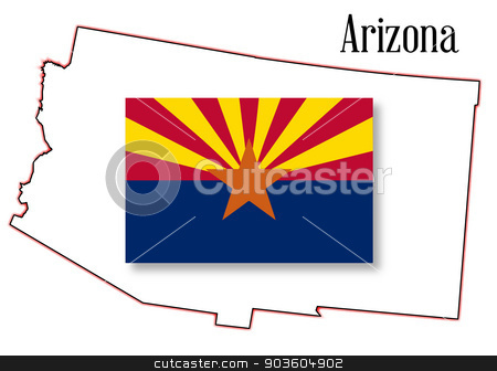 Arizona State Map and Flag stock vector clipart, Outline map of the state of Arizona on a white background with flag inset by Kotto