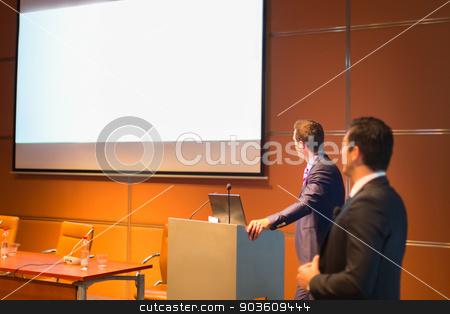 Public speaker at Business Conference. stock photo, Speaker at Business Conference with Public Presentation. Entrepreneurship club. by kasto