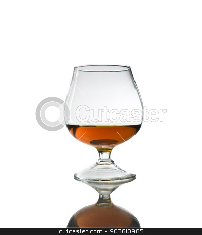 Glass of Cognac stock photo, Snifter glass of cognac on white background. by Afanasiev Oleksii