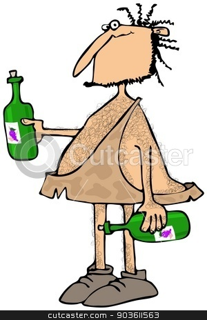 Caveman wine connoisseur stock photo, This illustration depicts a caveman carrying two bottles of wine. by Dennis Cox