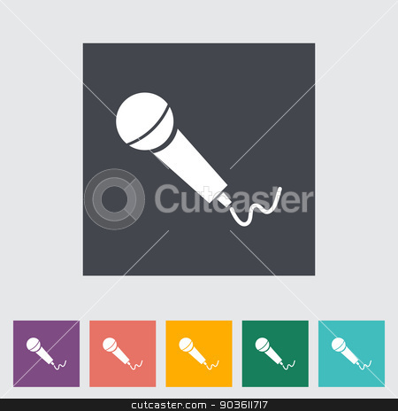 Microphone stock vector clipart, Microphone. Single flat icon. Vector illustration. by Afanasiev Oleksii