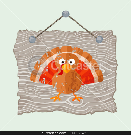 Wooden Sign with Turkey stock vector clipart, Grey hanging wooden sign with painted grunge pumpkin. by Tindo