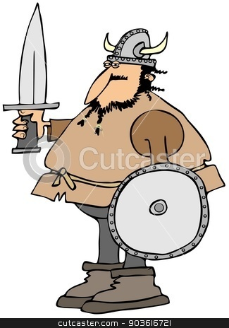 Viking with a sword and shield stock photo, This illustration depicts a Viking man carrying a sword and shield. by Dennis Cox