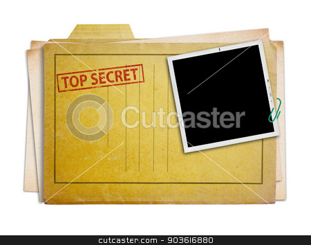 top secret folder isolated stock photo, top secret folder with old photograph,  isolated, clipping path.  by Pablo Caridad