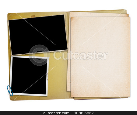 Open vintage folder with two old photographs, stock photo, Open vintage folder with two old photographs, isolated, clipping path. by Pablo Caridad