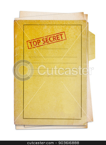 Old folder with top secret stamp. stock photo, Old folder with top secret stamp, clipping path. by Pablo Caridad