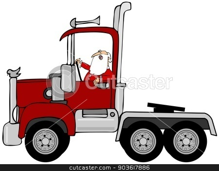 Santa driving a red semi truck stock photo, This illustration depicts Santa Claus driving a red semi truck. by Dennis Cox