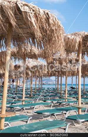 Umbrellas and sunbeds on Elafonissi beach, Crete, Greece stock photo, Umbrellas and sunbeds on Elafonissi beach, Crete,  Greece by Constantin Stanciu