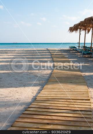 Umbrellas and sunbeds on Elafonissi beach, Crete, Greece stock photo, Umbrellas and sunbeds on Elafonissi beach, Crete,  Greece by Constantin Stanciu