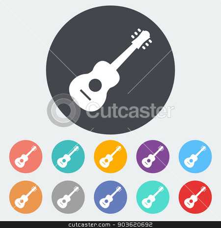 Guitar icon stock vector clipart, Guitar. Single flat icon on the circle. Vector illustration. by Afanasiev Oleksii