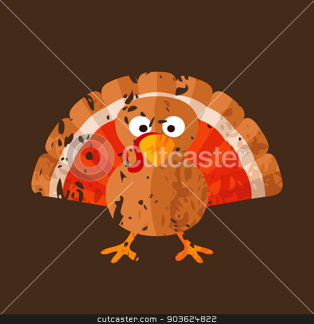 Turkey stock vector clipart, Cartoon of turkey in grunge style. by Tindo