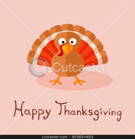 Happy Thanksgiving stock vector clipart, Happy Thanksgiving card with cartoon of turkey. by Tindo