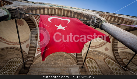 Turkish Flag at Blue Mosque in Istanbul stock photo, Red Flag of Turkey at Blue Mosque in Istanbul by Scott Griessel