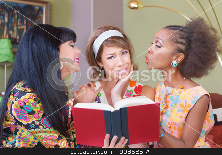 Sentimental Friends Reading Novel stock photo, Three diverse sentimental mature women reading book by Scott Griessel