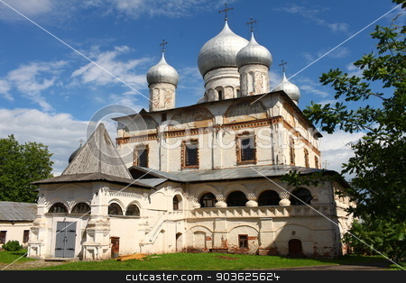 Ancient Russian church stock photo, Cathedral of our lady in Veliky Novgorod founded in 1680 by mrivserg