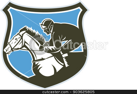 Jockey Horse Racing Side Shield Retro stock vector clipart, Illustration of horse and jockey racing viewed from side set inside shield crest on isolated background done in retro style. by patrimonio