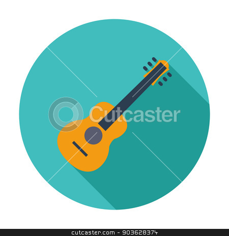 Guitar icon stock vector clipart, Guitar. Single flat color icon. Vector illustration. by Afanasiev Oleksii