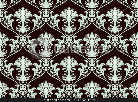 Seamless Damask Wallpaper stock vector clipart, A vector illustrated tileable seamless pattern. by Afanasiev Oleksii