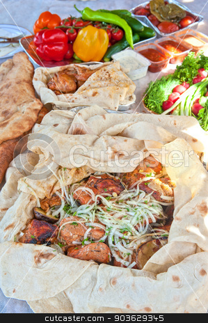 pork kebab stock photo, Delicious pork kebab with vegetables by olinchuk