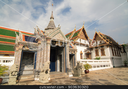 Thai temple stock photo, Beautiful Thai temple style and buddhist art decoration in Thailand. by worachatsodsri