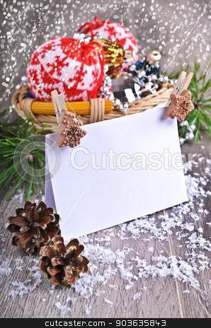 Christmas composition stock photo, Christmas composition with ornaments, pine cones, branches of fir trees and artificial snow by zia_shusha