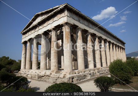 Temple of Hephaestus stock photo, Temple of Hephaestus at ancient agora in Athens  by Portokalis