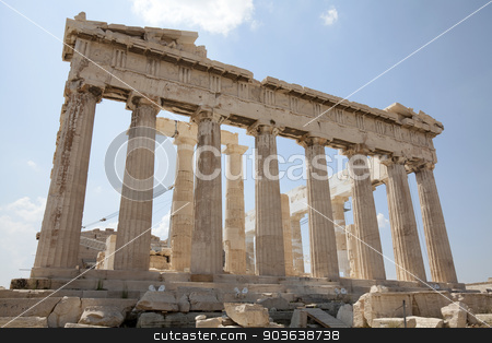 Parthenon. Temple of Athena at the Acropolis stock photo, The Parthenon is a temple on the Athenian Acropolis, Greece, dedicated to the maiden goddess Athena, whom the people of Athens considered their patron deity. Its construction began in 447 BC when the Athenian Empire was at the height of its power. It was completed in 438 BC, although decoration of the building continued until 432 BC.  by Portokalis