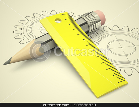 engineering concept stock photo, 3d generated picture of a pencil, a ruler and two cogwheels  by Stefan