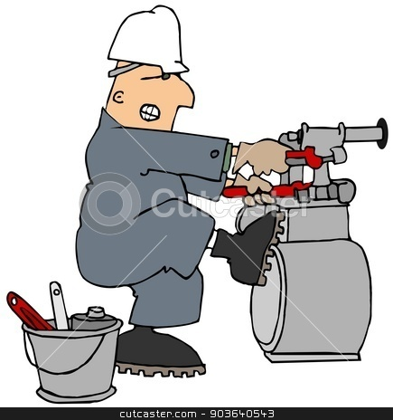 Man trying to loosen a gas meter stock photo, This illustration depicts a worker in coveralls and hard hat struggling to loosen a gas meter with two pipe wrenches. by Dennis Cox