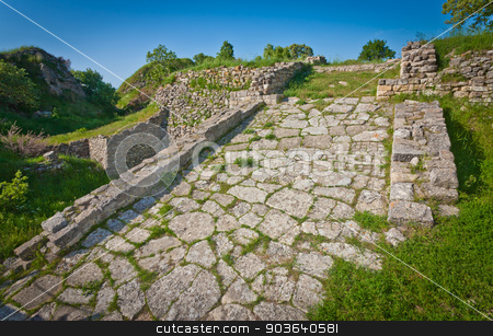 Acropolis Road at Troy in Turkey stock photo, Roadway atop acropolis wall at Troy in Turkey by Scott Griessel